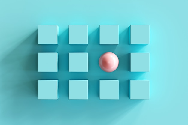 Outstanding pink shpere among blue boxes on blue background. minimal flat lay contept