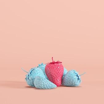 분홍색 배경에 블루 딸기 중 뛰어난 핑크 딸기