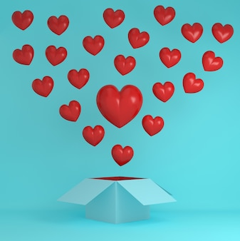 Outstanding red heart creative idea outside the box