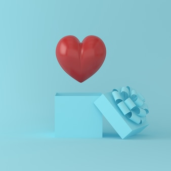 Outstanding red heart float on a gift box