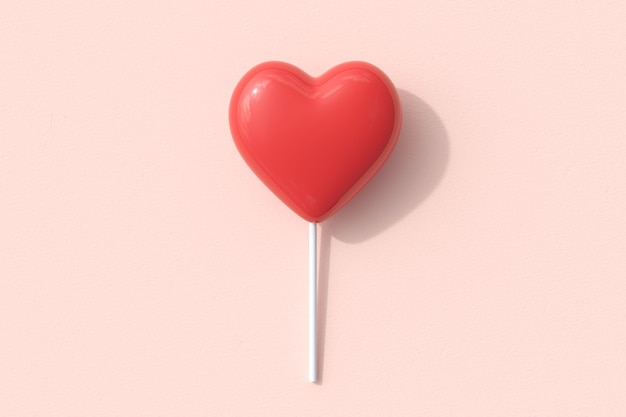 Outstanding red heart shape of candy lollipop on pink background. 3d render. minimal valentine concept idea.