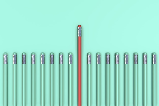 Outstanding red pencil on green pastel background. minimal business concept.