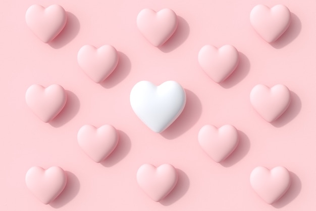 Outstanding white color heart shapes of candy lollipop on pink background. 3d render. minimal valentine concept idea.