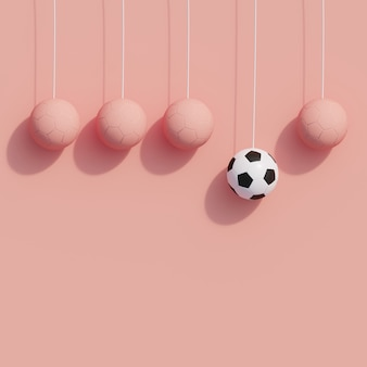 Outstanding white football hanging with pink football on pink