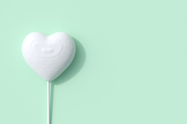 Outstanding white heart shape of candy lollipop on green background. 3d render. minimal valentine concept idea.