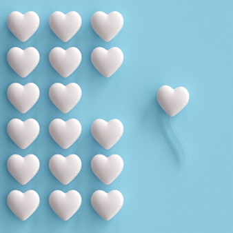 Outstanding white hearts on blue background. minimal valentine concept idea.