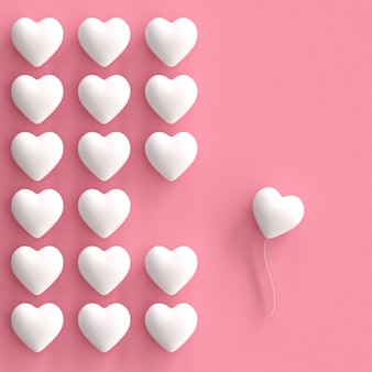 Outstanding white hearts on pink background. minimal valentine concept idea.