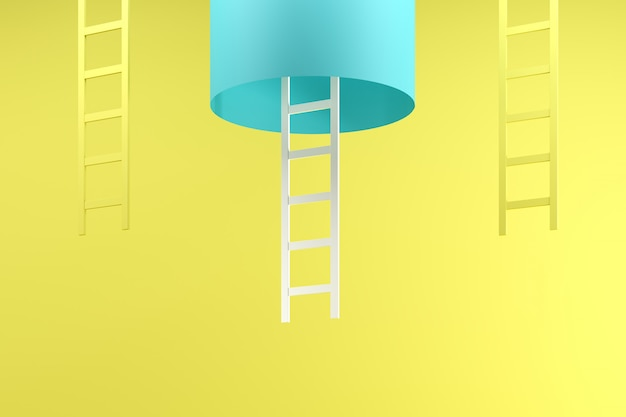 Outstanding white ladder hanging inside blue tube between two yellow ladders on blue
