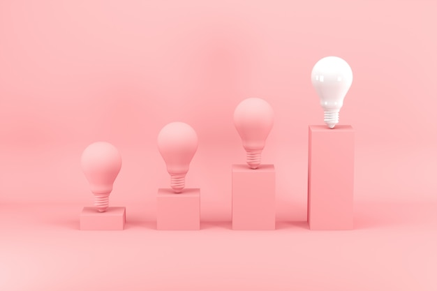 Outstanding white light bulb among pink light bulbs on bar chart on pink