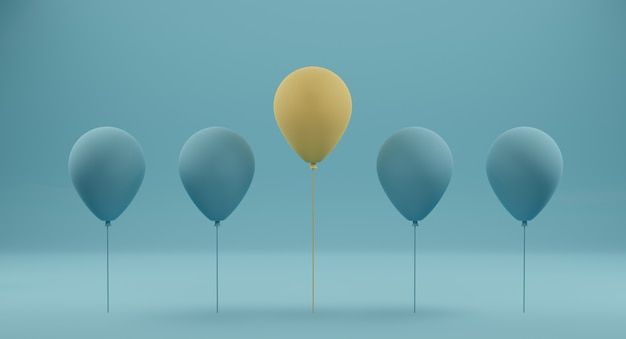 青の青い風船の中で傑出した黄色の風船