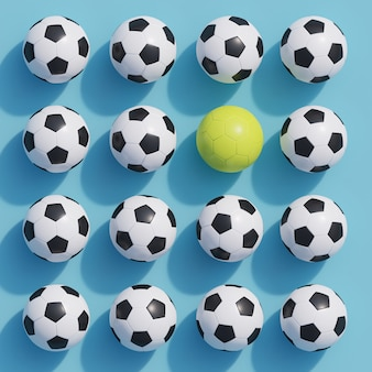 Outstanding yellow football among white football on blue