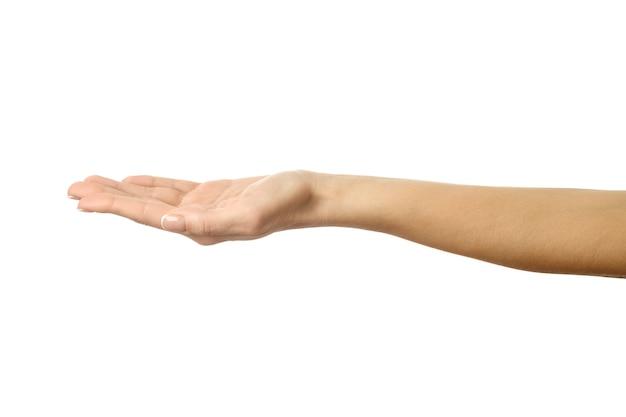 Протянутая женская рука. рука женщины при показывать французский маникюр изолированный на белой стене. часть серии
