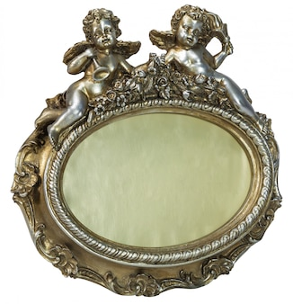 Oval baroque gold photo frame with cupid on isolated