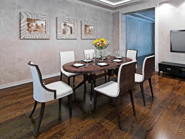 6 인용 타원형 식탁. 아방가르드 스타일의 식당 인테리어. 광택 라미네이트 바닥재. 3d 렌더링