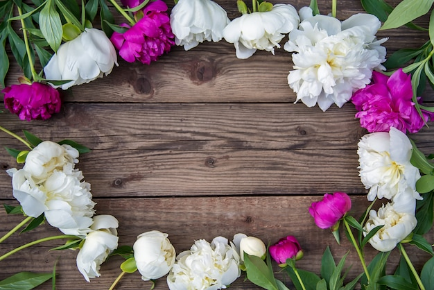 Oval frame of white and pink peonies on wooden background