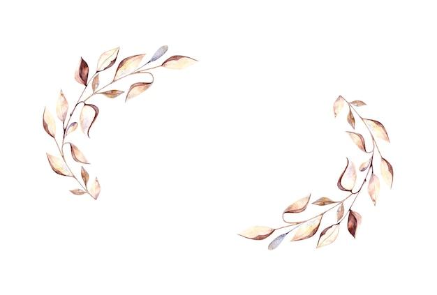植物標本の小枝と乾燥した葉、白い背景の上の乾燥した花、はがき、パッケージ、デザインのデザインのための水彩画の楕円形の水彩画フレーム。