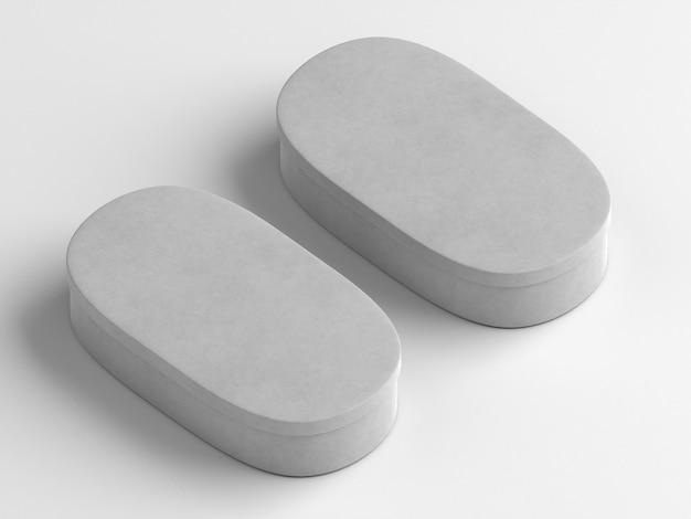 Ovale bianco vuoto semplicistico scatole di cartone alta vista