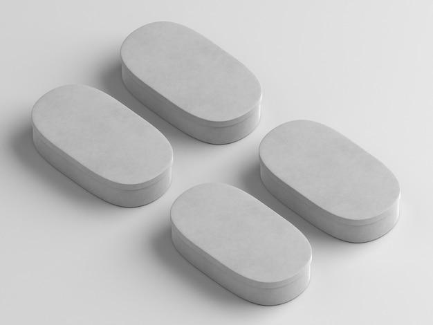 Scatole di cartone semplicistiche vuote bianche ovali