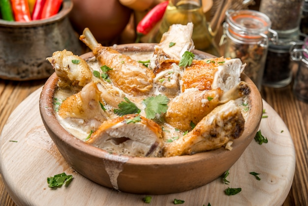 Oven-roasted orange chicken with red onion honey legs