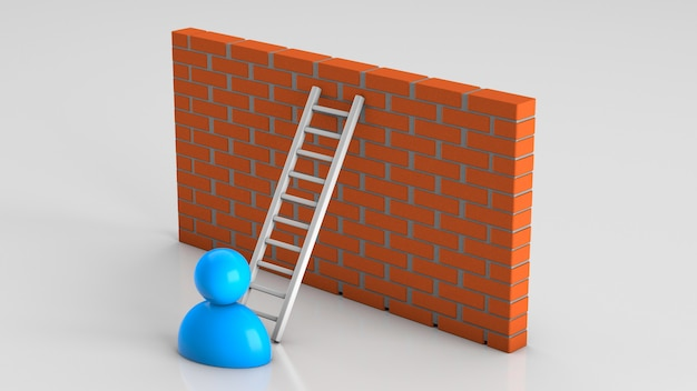 Overcome wall obstacles using a ladder. 3d render.
