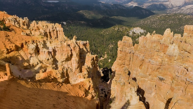 Overhead aerial view of landscape in zion canyon national park utah