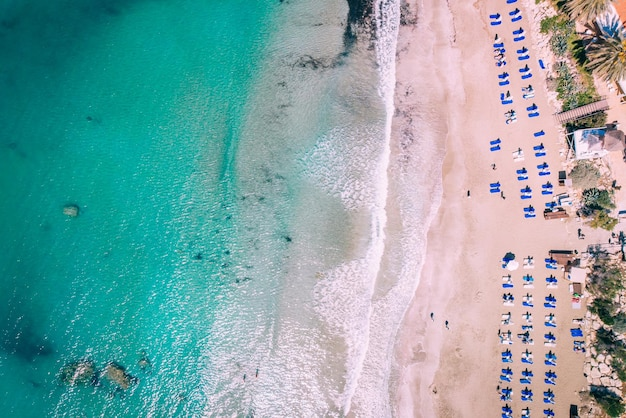 Overhead beautiful beach with crystal clear water, coral bay, cyprus