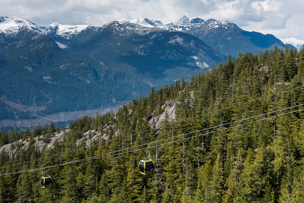 Overhead cable cars over mountain valley, bc coast, coast mountains, squamish, british columbia, can