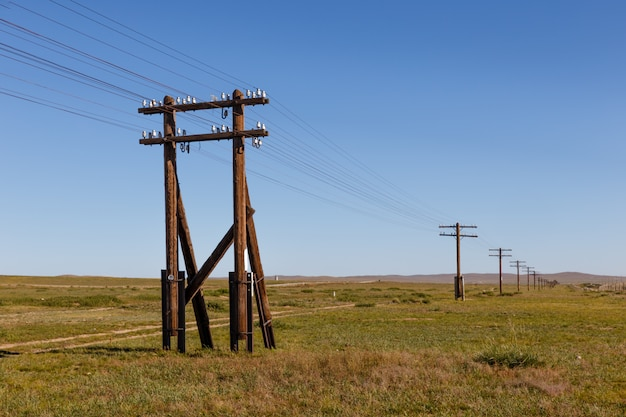 Overhead line on wooden supports in the mongolian steppe