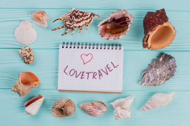 Overhead photo of sea shells and notepad on turquoise background