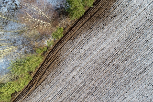 Overhead shot of an agricultural field in the countryside