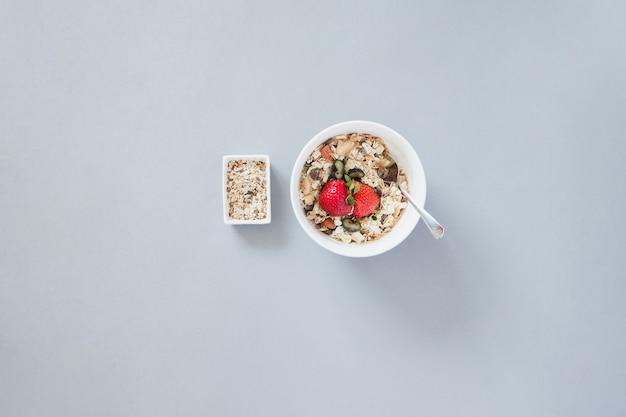 Overhead shot of breakfast muesli bowl