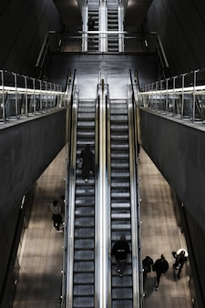 Overhead shot of an escalator at a train station