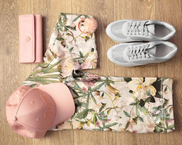 Overhead shot of female casual clothes
