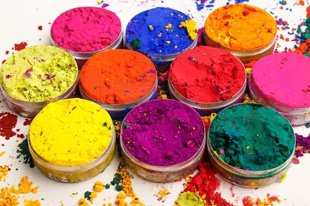 인도 holi 축제 색상의 오버 헤드 샷