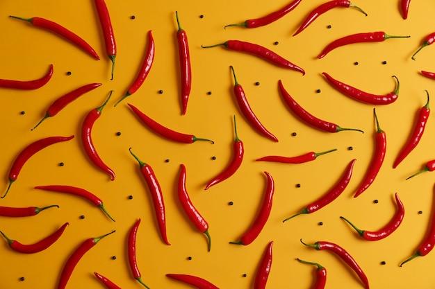 긴 얇은 잘 익은 빨강 칠리 페 퍼와 노란색 스튜디오 벽 주위에 정렬 된 검은 후추의 오버 헤드 샷. 음식 배경. 고추의 집합입니다. 다양한 향신료. 야채와 영양 개념