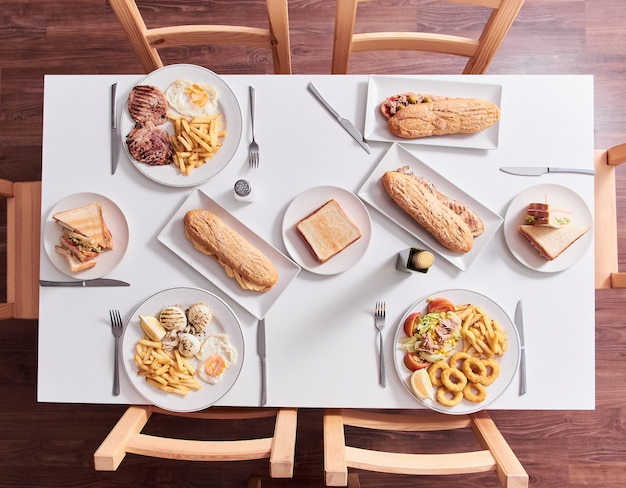 Overhead shot of restaurant table with food