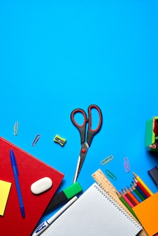 Overhead shot of school and office supplies