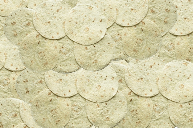 Overhead shot of tortilla bread on top of each other