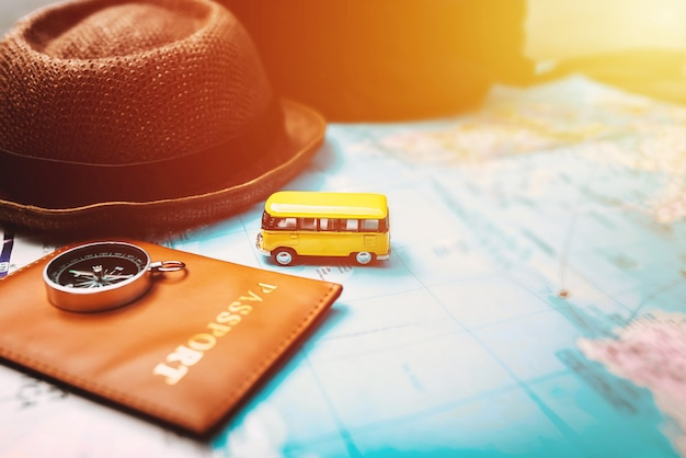 Overhead view accessories for travel, travel concept.