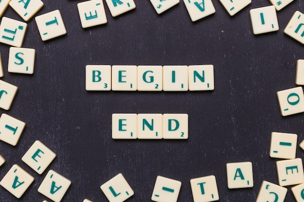 Overhead view of begin end text on scrabble letters over black backdrop