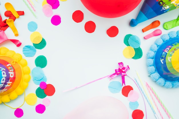 Overhead view of birthday mockup on white background