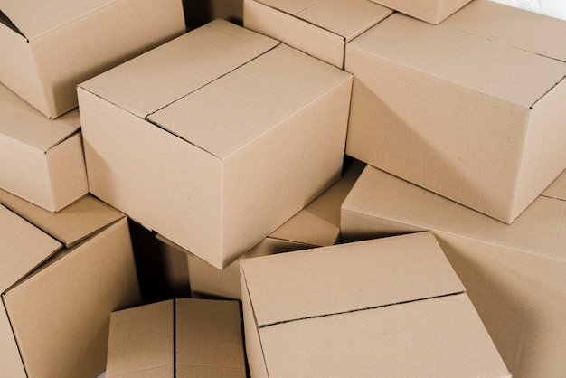 An overhead view of closed cardboard boxes