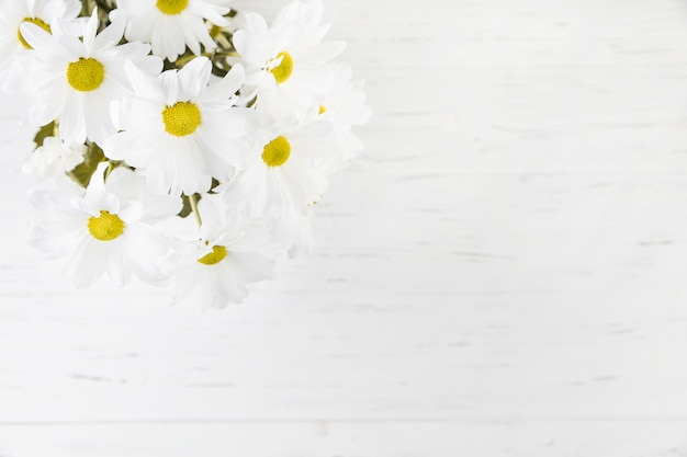 An overhead view of daisy bouquet over the wooden backdrop