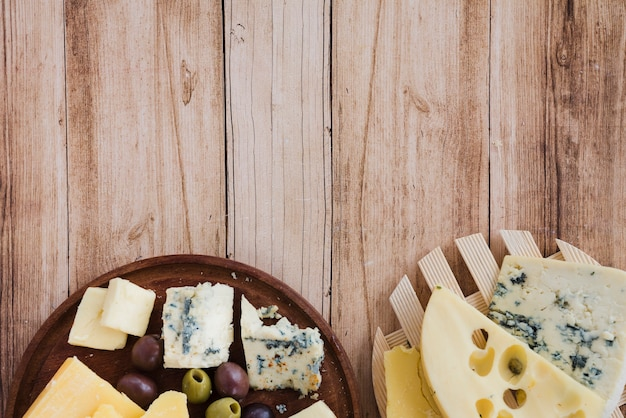 An overhead view of emmental; gouda and blue cheese on coaster and chopping board