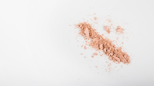 Overhead view of face powder on white background