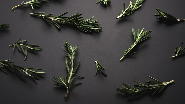 Overhead view of fresh green rosemary over dark backdrop