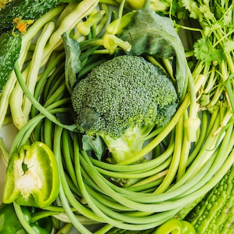 An overhead view of fresh green vegetables