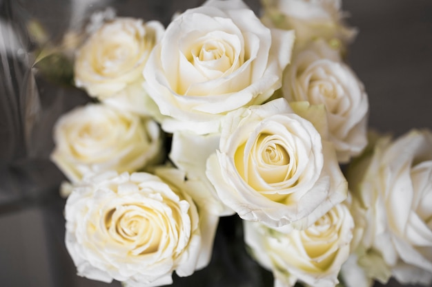 An overhead view of fresh white bouquet roses