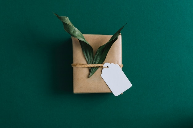 An overhead view of gift box with blank tag and leaves on green background