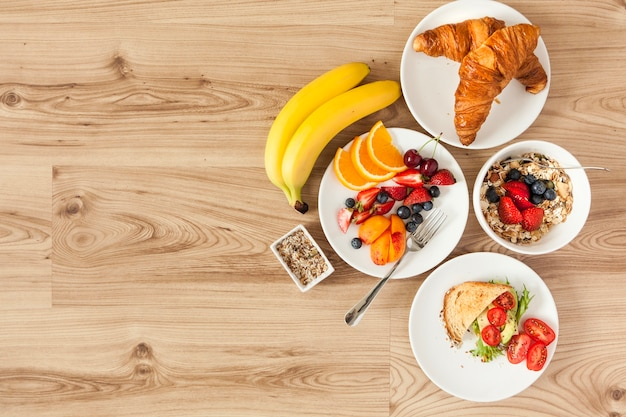 Overhead view of healthy breakfast ingredients